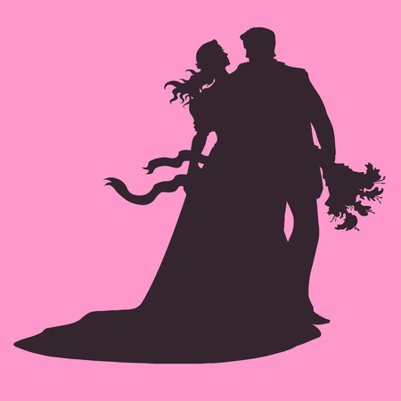 wedding loving couple.silhouette of a couple in love hugging Rose. Illustration