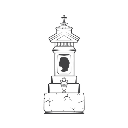 Vector isolated image of a female obelisk grave headstone. Silhouette of a female head profile. Vase with ashes. Illustration