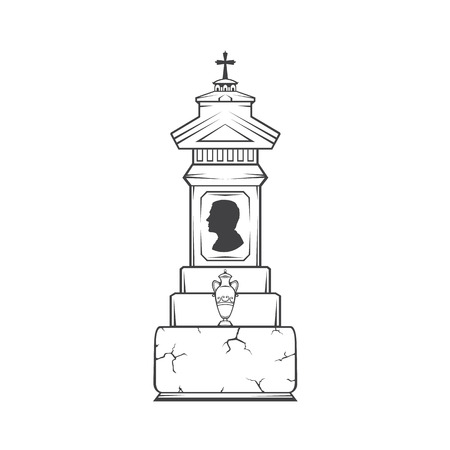 Vector isolated image of male obelisk grave headstone. Silhouette of mans head profile. Vase with ashes.