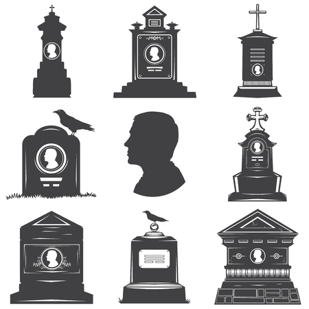 gravestones: Set of images of silhouettes of male graves gravestones monuments. Male head silhouette on the stone gravestones. Image crosses crow.