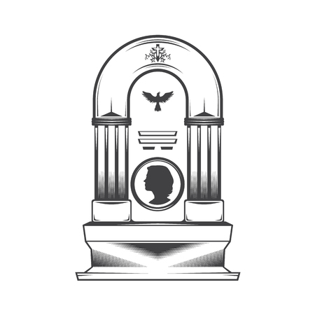 obelisk: Vector isolated image of a female obelisk grave headstone. Silhouette of a female head profile. Cross pattern and silhouette symbol dove bird.