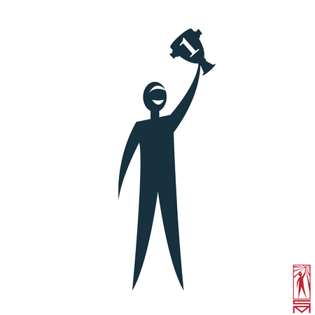 basic figure: Man Person Basic body position Stick Figure Icon silhouette  sign,winner, winning, winner, first, champion, win, prize, pride, athlete, party, rewarding,cup