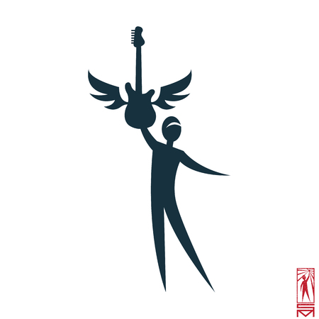 basic figure: Man Person Basic body position Stick Figure Icon silhouette  sign,guitarist, guitar, wings, rocker, musician, rock and roll, star, idol, group, success, fame, stage, actor