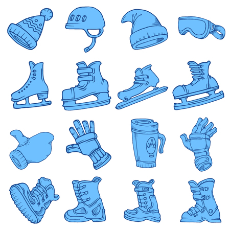 Doodle vector isolated Winter sports skates hat glasses gloves helmet coffee mug snowboard boots ski snow ice hockey racing circuit curly blue white.
