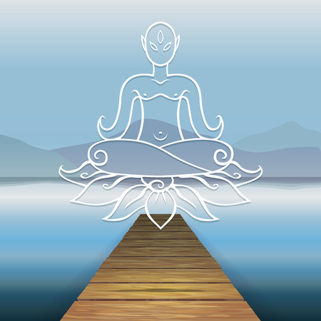 Vector color image of a wooden pier on the design of the river water, lake, sea, ocean. The background mountains hills. Relaxation. Wooden pier. Levitating Buddha, lotus, Buddhism.