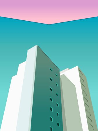 image of picture houses, view from below. Turquoise sky pink sky. Multistory model house, the roof. view from below