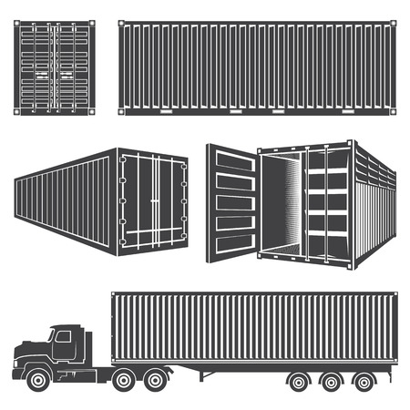 Set of isolated silhouettes of containers. Transportation logistics, cargo transportation. Container sea. Railway container. Cargo truck with the container. Open container.
