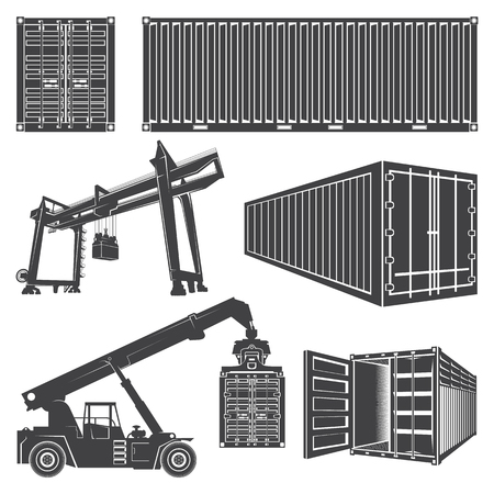Set of isolated silhouette of a container loader, a gantry crane. Transportation logistics shipping containers. Illustration