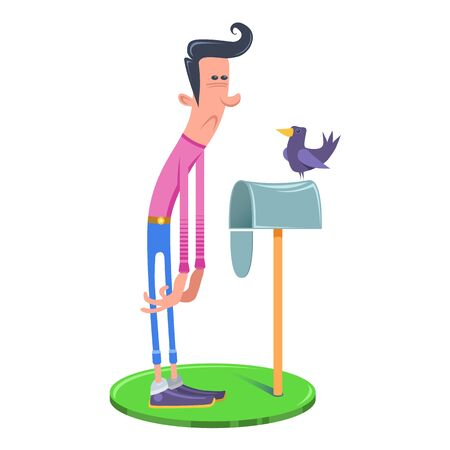 Young hipster before a mailbox on a green lawn. Bird sitting on a mailbox. No message. No letter. Waiting sad hipster. Illustration