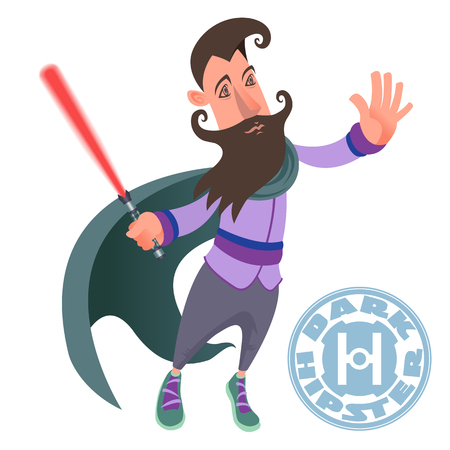 Vector color picture dark hipster character, beard, mustache, stylish, trendy, lightsaber, cape, dark force. Illustration