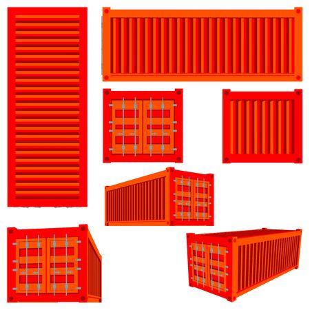 Wektor odizolowywający set renderingi ładunku zbiornik różnorodni gatunki. 3D ilustracja logistyki transportu. Pojemnik ładunkowy lub kontener wysyłkowy. Ilustracje wektorowe