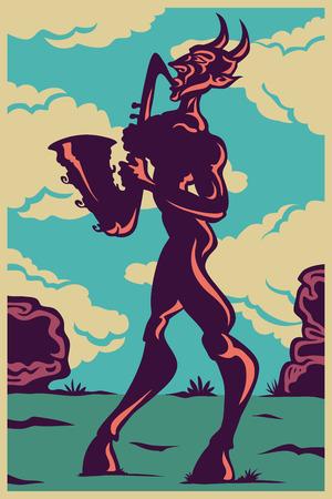 cobble: Vector color image of the deity Pan saxophonist plays the saxophone. Jazz sax cloud mythology.