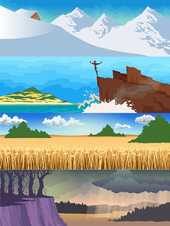 Color set of illustrations of the seasons. Landscapes nature views. Snowy mountains, rocks in the sea, wheat field, rainy autumn landscape.