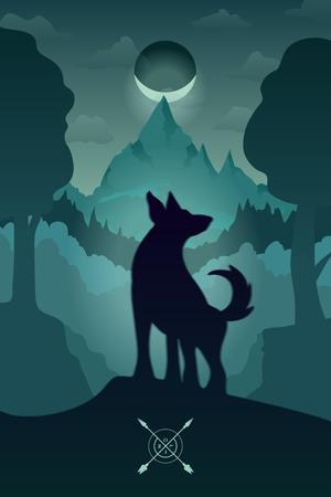 Vector Farbe Illustration eines Wolf, Landschaft, Berge, Nacht, Silhouette, Mond, Halbmond.