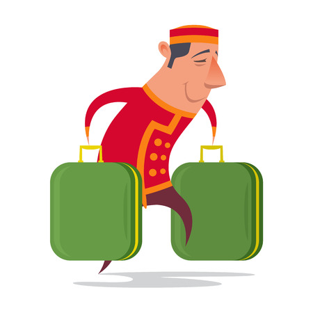 Vector colorful isolated character porter attendants, hotel, character, luggage, uniforms.