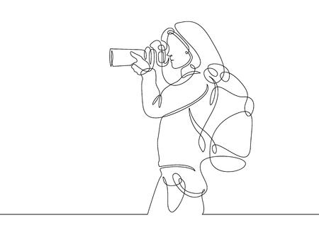 Fotógrafo de desenho de linha contínua Ilustración de vector