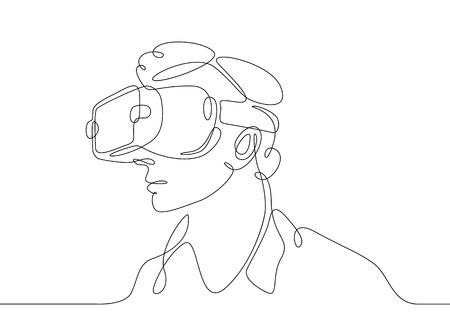 Dibujo continuo de una línea Hombre en gafas dispositivo realidad virtual Ilustración de vector