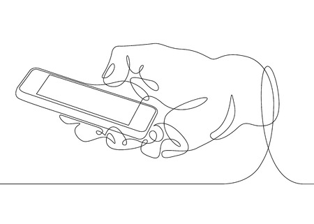 Continuous one line drawing In his hand phone smartphone