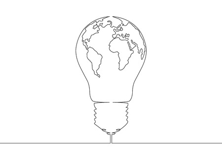 Continuous one line drawing light bulb symbol idea world map continuous one line drawing light bulb symbol idea world map globe inside the lamp stock gumiabroncs Images