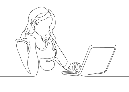 Continuous one line drawing girl sits at a laptop