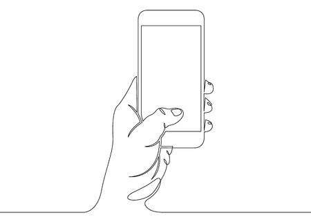 Ciągłe rysowanie jednej linii ręką i telefonem