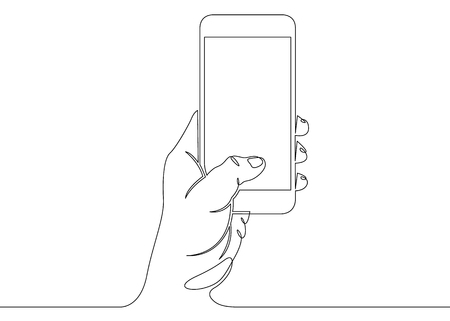 Continuous one line drawing with hand and phone Vectores