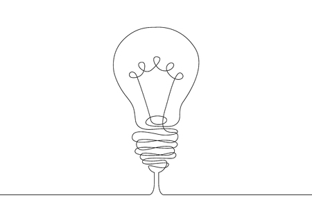 Continuous one line drawing light bulb symbol idea. Vettoriali