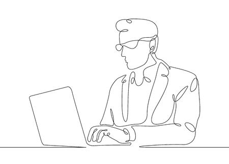 Uomo continuo di un disegno a tratteggio che si siede ad un computer portatile