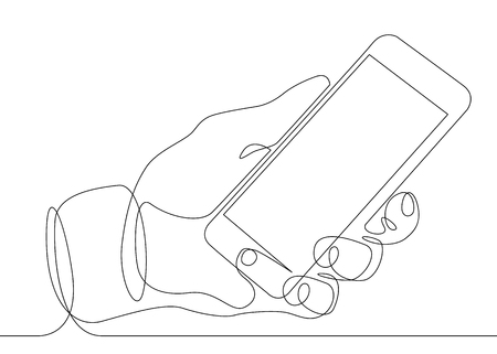 Ciągły rysunek jednej linii w ręku telefon smartphone Ilustracje wektorowe