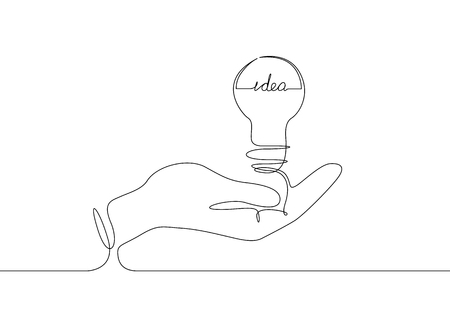 Continuous one line drawing light bulb symbol idea, the inscription idea. 矢量图像