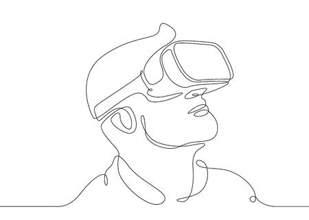 Ciągłe rysowanie jednej linii Człowiek w okularach urządzenie wirtualnej rzeczywistości Ilustracje wektorowe