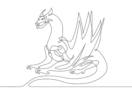 Continuous one line drawing dragon