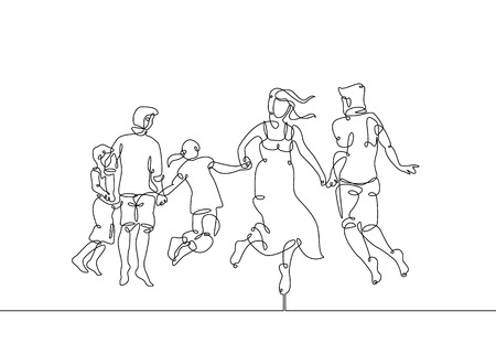 Continuous one line drawing of happy family running Ilustrace