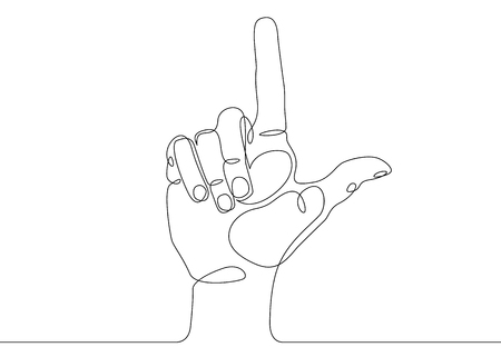 Continuous one line drawing hand palm fingers gestures. Hand pointing direction finger Vectores