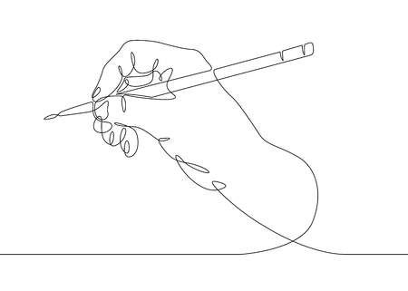 Continuous one line drawing hand palm fingers gestures pen, pencil Vectores
