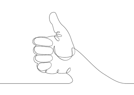Continuous one line drawing hand palm fingers gestures. Hand showing great sign Vettoriali