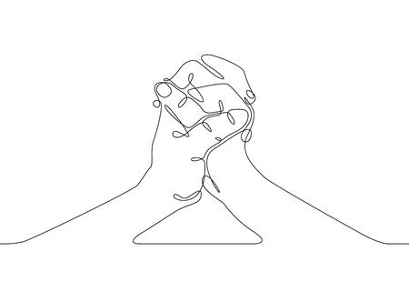 Ononderbroken één lijntekening handpalm vingers gebaren. Bedrijfsconcept handen vechten Vector Illustratie