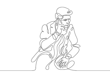 Continu één lijntekening zakenman praten op smartphone