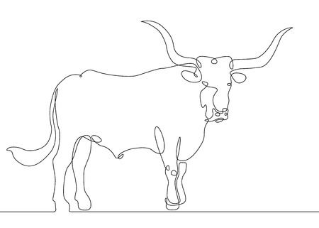 Continuous one line drawing of bull cow