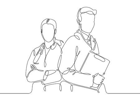 Medico di disegno a tratteggio continuo con responsabile medico stetoscopico.