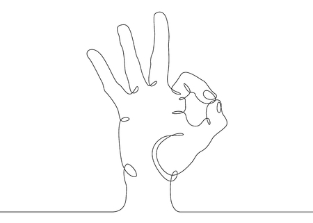 Continuous one line drawing hand palm fingers gestures. Hand showing okay gesture.