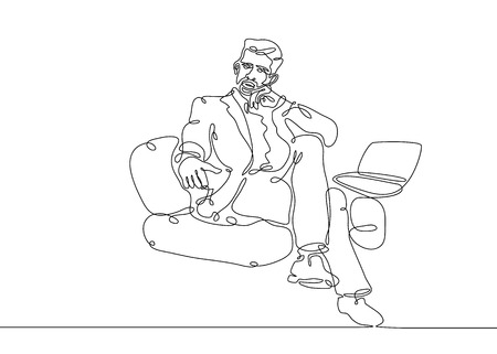 Continuous one line drawing businessman sitting working at computer laptop