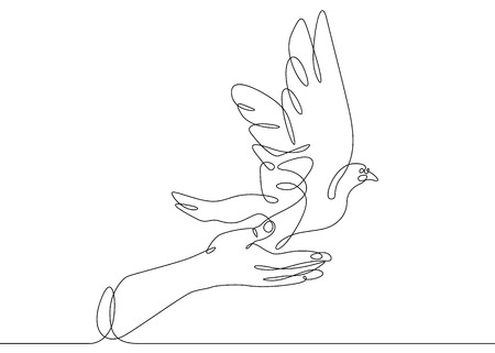Continuous one line drawing releasing a bird from hand to flight. Concept of the symbol of freedom. Stock Illustratie