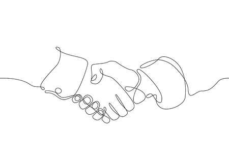 Continuous one line drawing hand palm fingers gestures. Business concept deal deals handshake. Ilustração