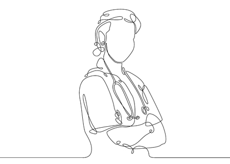 Continuous one line drawing doctor with stethoscope