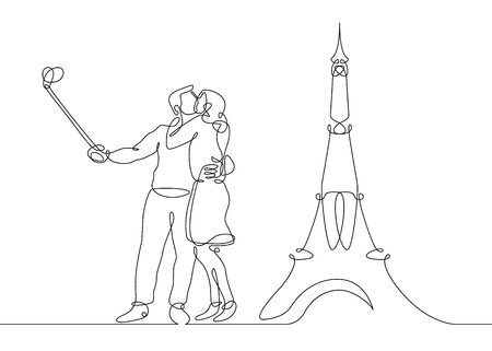 Continuous line drawing of happy couple making selfie photo on the background of the eiffel tower. France is the symbol of Paris.