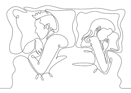 Continuous line drawing. Beautiful couple in sleeping pose on pillows. Vector illustration