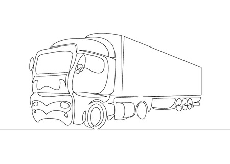 Continuous line drawing of Pickup truck transport vector illustration simple concept. 向量圖像