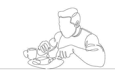 Continuous single line of a man eating, Vector illustration. Vectores