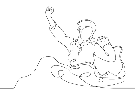 Continuous single line drawn character girl woman in bed wakes up in the morning Illustration